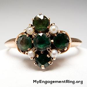 Victorian emerald & seed pearl ring 10k rose gold engagement ring