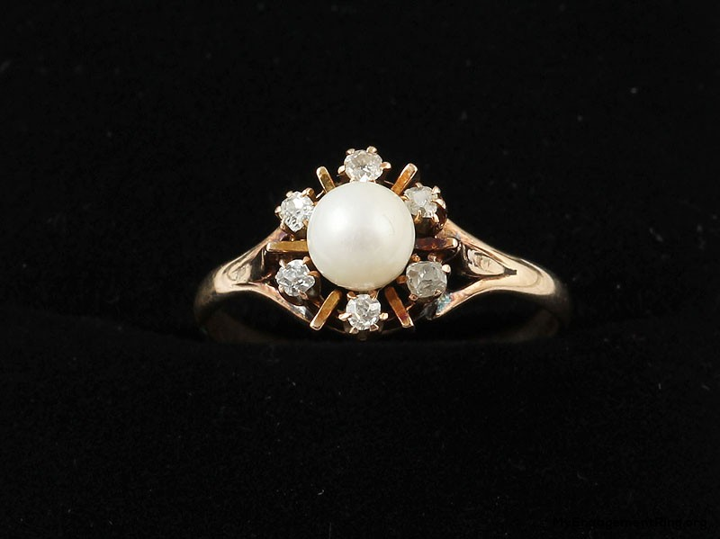 antique and unique jewelry pearl engagement ring
