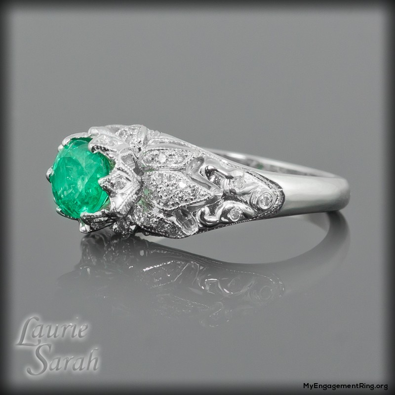 lotus flower emerald and diamond engagement ring